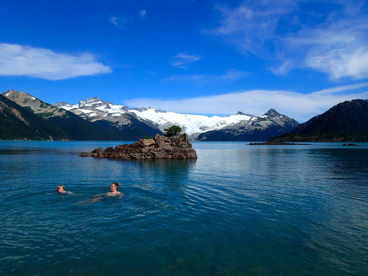 Swimming in Garibaldi Lake