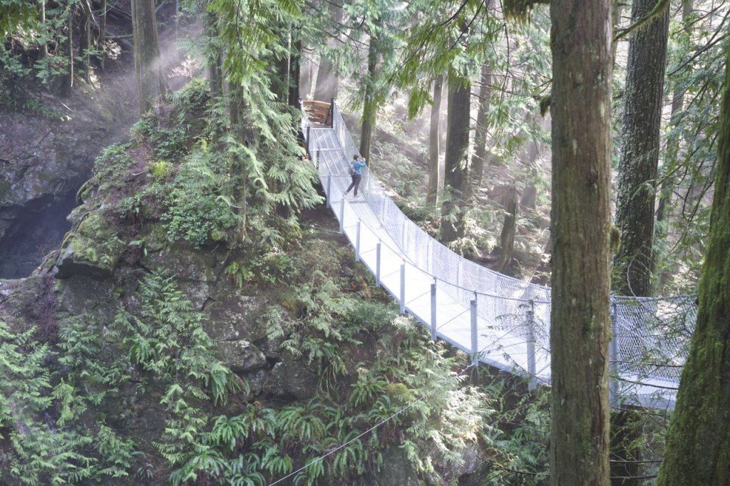 The suspension bridge at Cascade Falls in Mission, one of over 100 snow-free hikes in Vancouver that you can hike all year long.