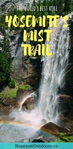 Hike the Mist Trail in Yosemite National Park, California, USA. It's the world's best day hike and passes by Vernal Falls and Nevada Falls. If you only do one hike in Yosemite, make it the Mist Trail. Click here for more info.