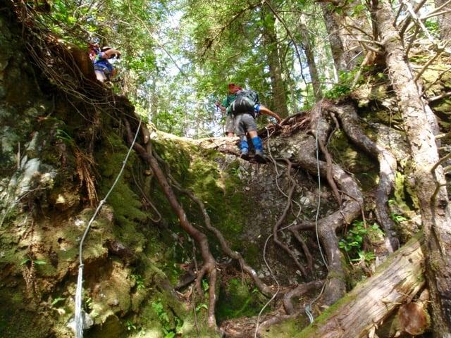 Descending a headland on the Nootka Trail
