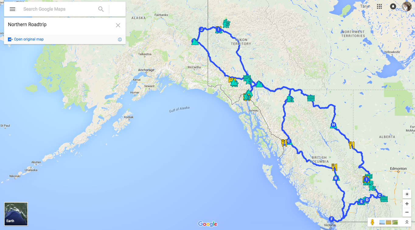 Northern Road Trip Map