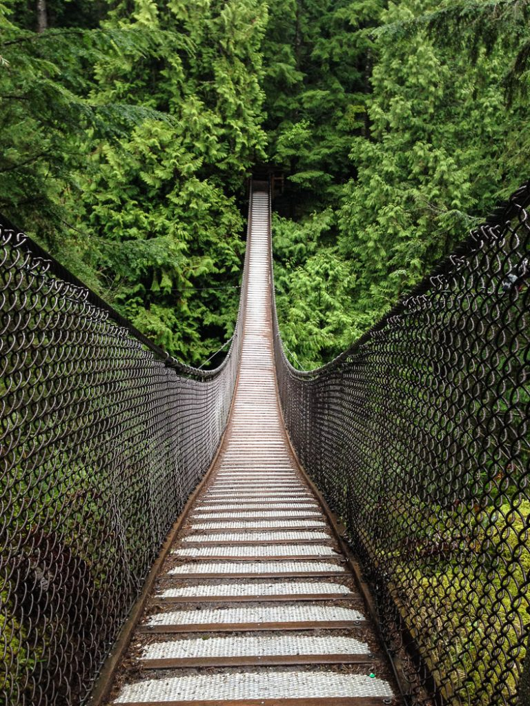 The suspension bridge in Lynn Canyon, one of over 100 snow-free hikes in Vancouver that you can hike all year long.