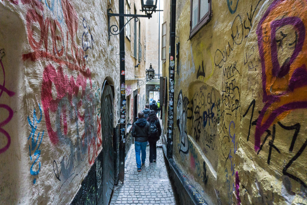 Marten Trotzigs Grand in the old town of Stockholm. Visit it on the Ultimate Self-Guided Walking Tour of Stockholm