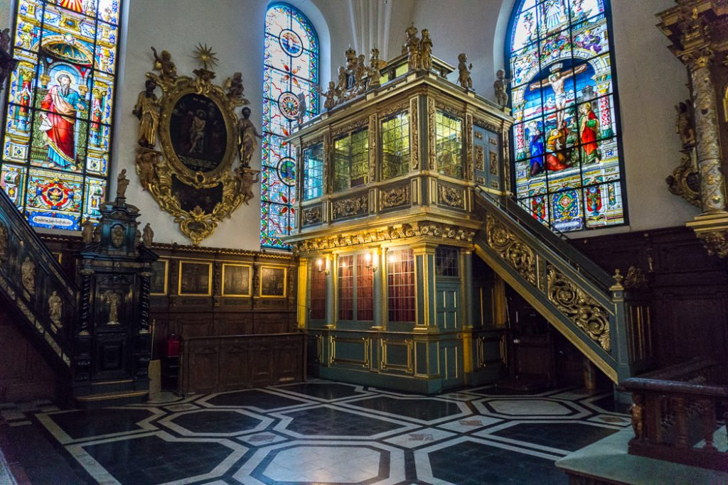 The interior of Tyska Kyrkan in Stockholm. Visit it on the Ultimate Self-Guided Walking Tour of Stockholm