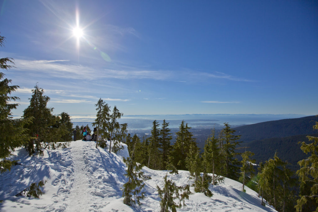 Dog Mountain snowshoeing trail on Mount Seymour near Vancouver, BC. The Ultimate Guide to Snowshoeing in Vancouver.