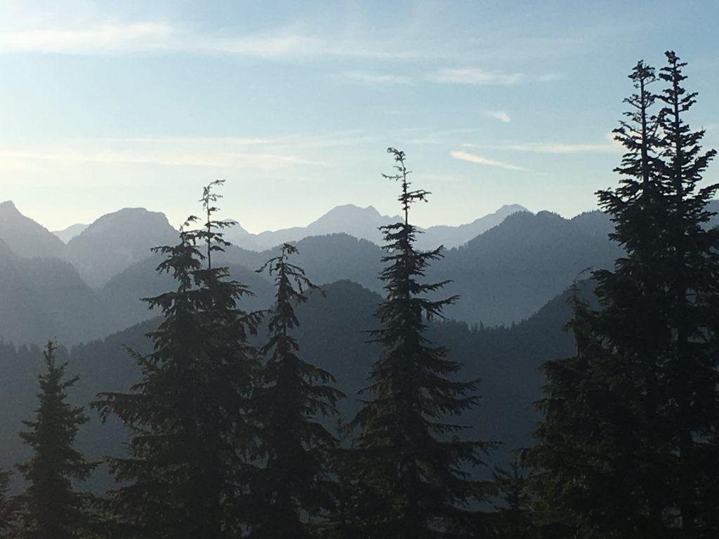 North Shore Mountains at dusk, Vancouver, BC, Canada