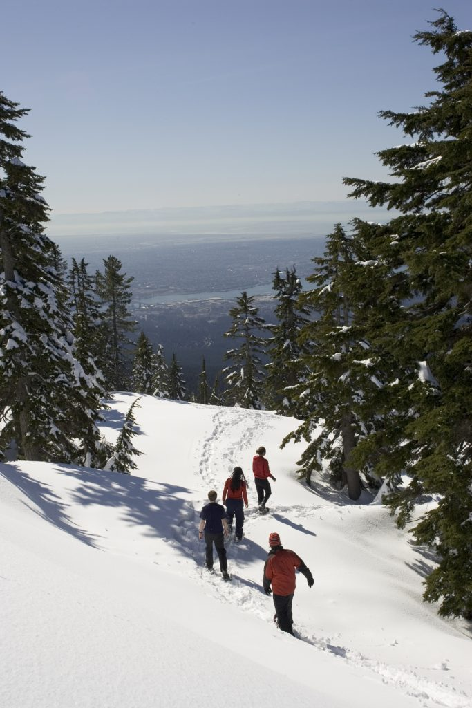 Snowshoeing on the Discovery trails at Mount Seymour near Vancouver