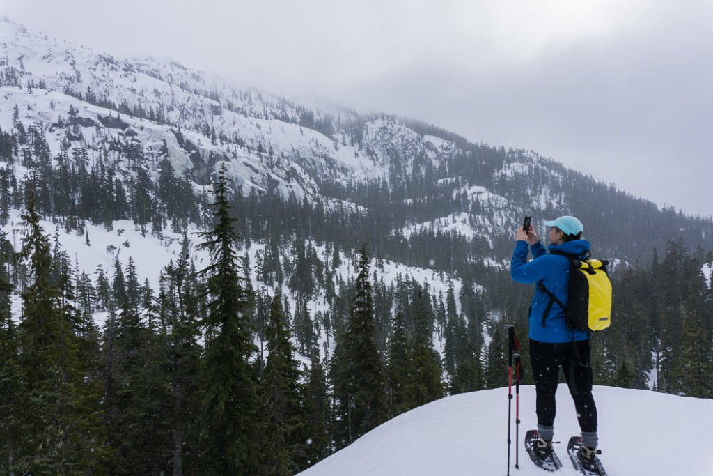 Snowshoeing on the Al's Habrich Ridge Trail at the Sea to Sky Gondola in Squamish, BC. The Ultimate Guide to Snowshoeing in Squamish.