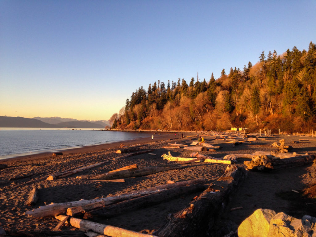 Wreck Beach on the Foreshore Trail in Pacific Spirit Regional Park, one of over 100 snow-free hikes in Vancouver that you can hike all year long.