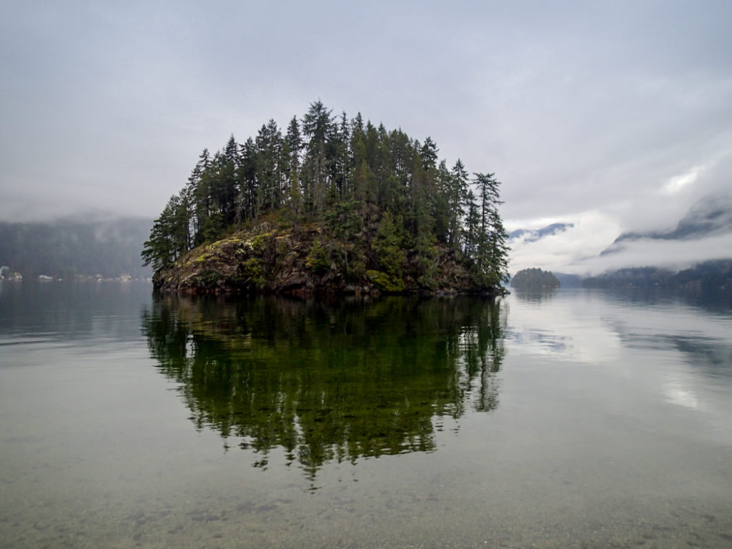 Jug Island in Belcarra Regional Park, one of over 100 snow-free hikes in Vancouver that you can hike all year long.
