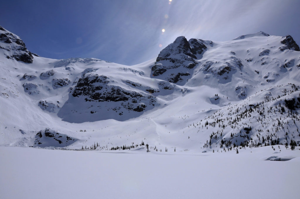 Joffre Lakes near Pemberton in winter. Find out how to snowshoe here in the Ultimate Guide to Snowshoeing in Whistler, BC, Canada.