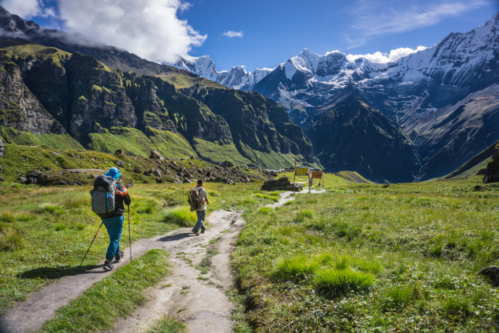 Stay on trail to avoid trail braiding, like this path near Annapurna Base Camp in Nepal. Learn how to Leave No Trace when hiking and camping to keep the wilderness wild.