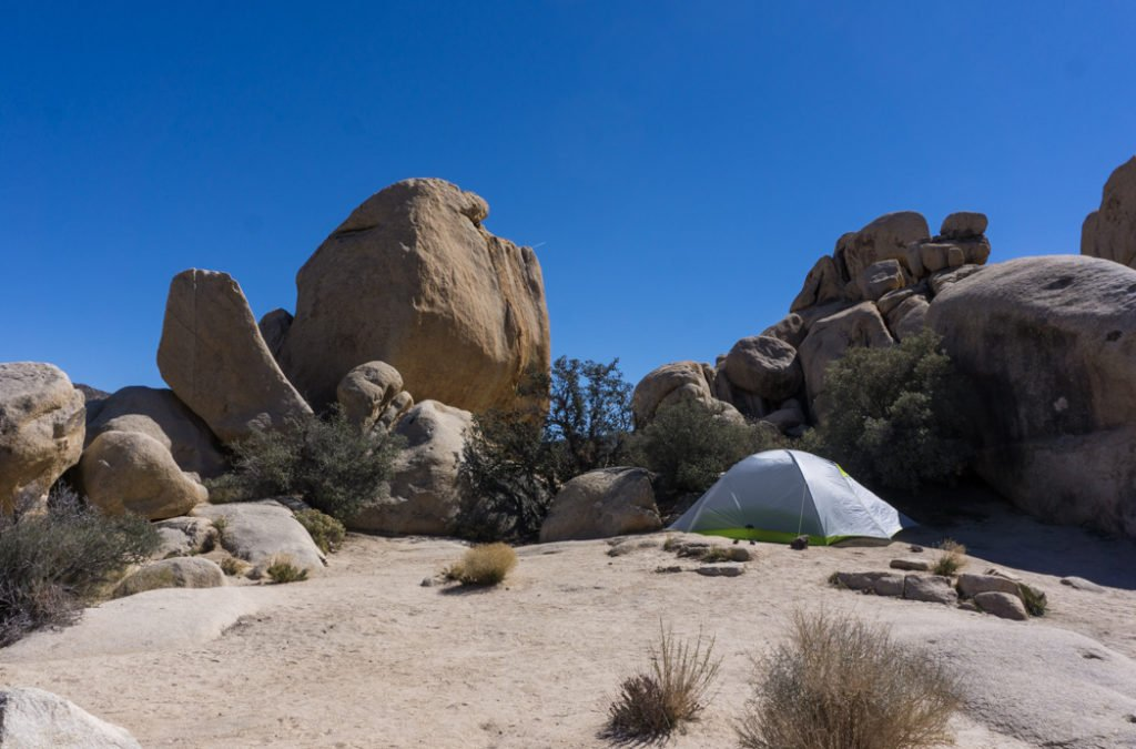 Camping at Hidden Valley Campground in Joshua Tree National Park. Just one of our recommendations for the best places to stay near Joshua Tree.