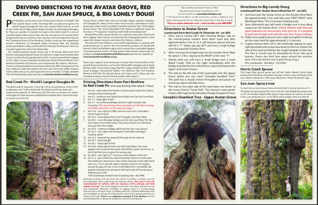 Driving directions to Avatar Grove, Big Lonely Doug and more from the Ancient Forest Alliance. Visit Big Lonely Doug, Avatar Grove and the other big trees near Port Renfrew, British Columbia.