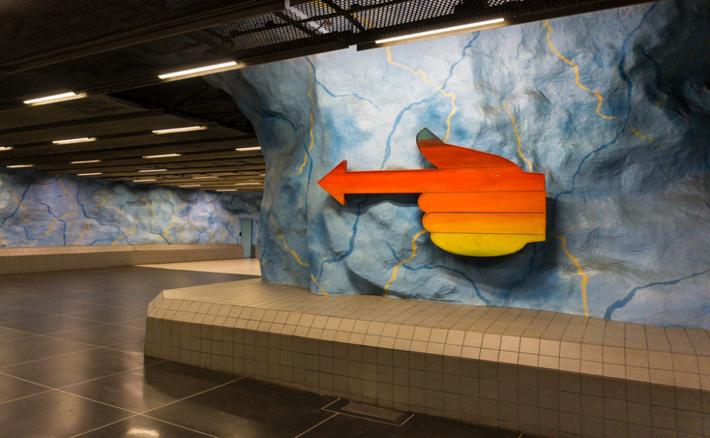 Art at Stadion Station on the Stockholm subway. Find out how to visit this station and 11 others on a self-guided tour of Stockholm subway art.