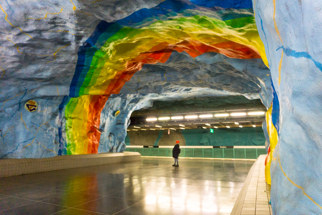 Art at Stadion Station on the Stockholm subway. Find out how to visit this station and 11 others on a self-guided tour of Stockholm's subway art.