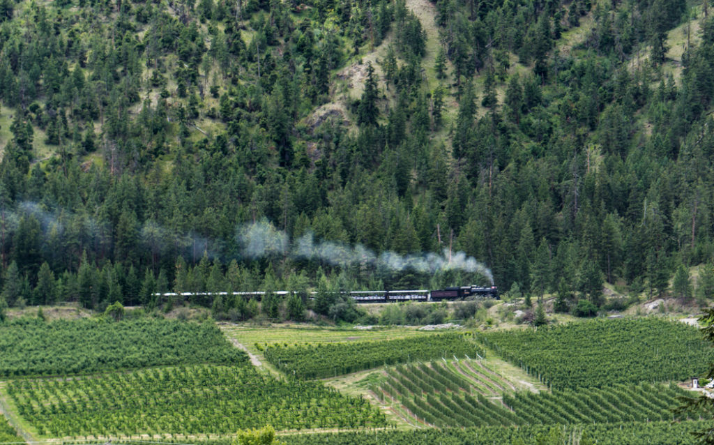 The Kettle Valley Heritage Train in Summerland, BC. Explore Summerland's wineries by bike with this self-guided tour.