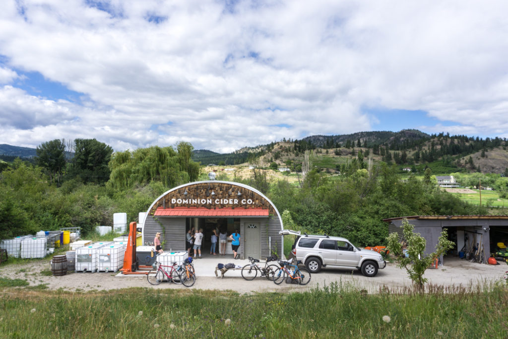 Dominion Cider Co. in Summerland, BC. Explore Summerland's wineries by bike with this self-guided tour.