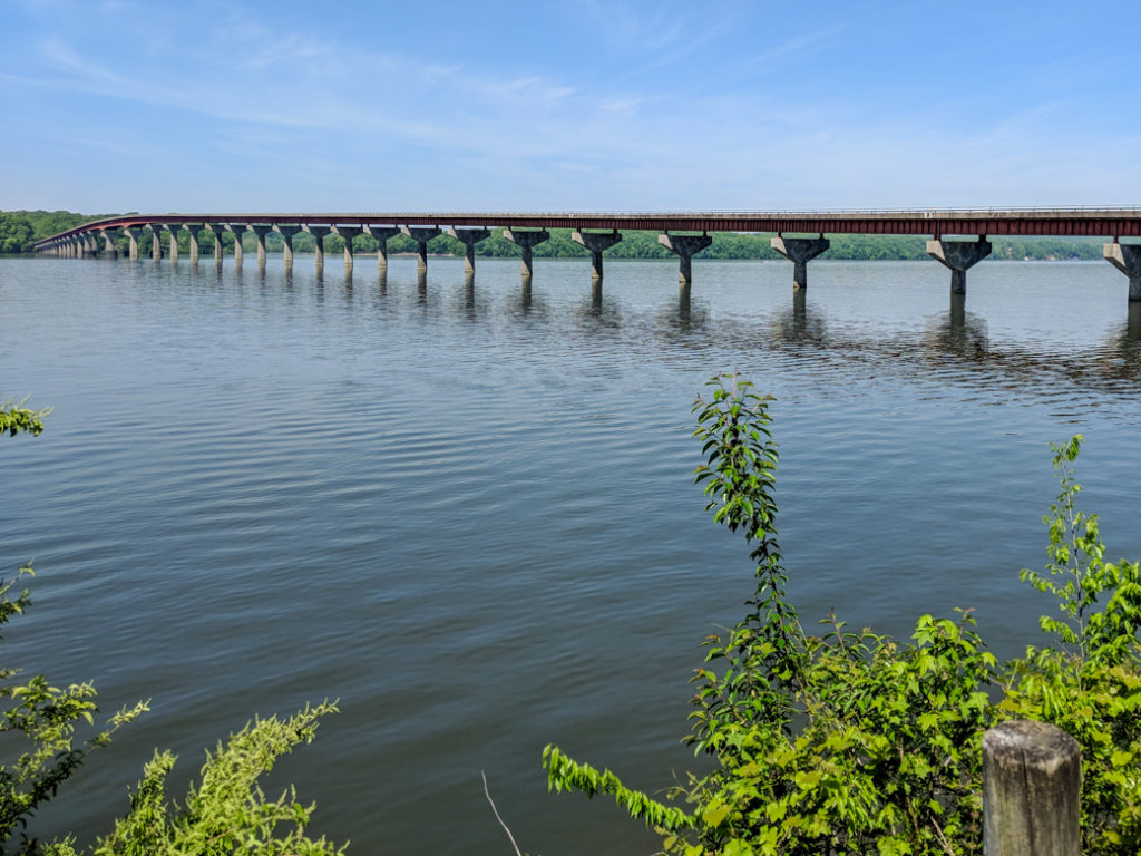 The bridge across the Tennessee River at Colbert Ferry on the Natchez Trace. Learn how to cycle tour the Natchez Trace Parkway in this detailed guide.