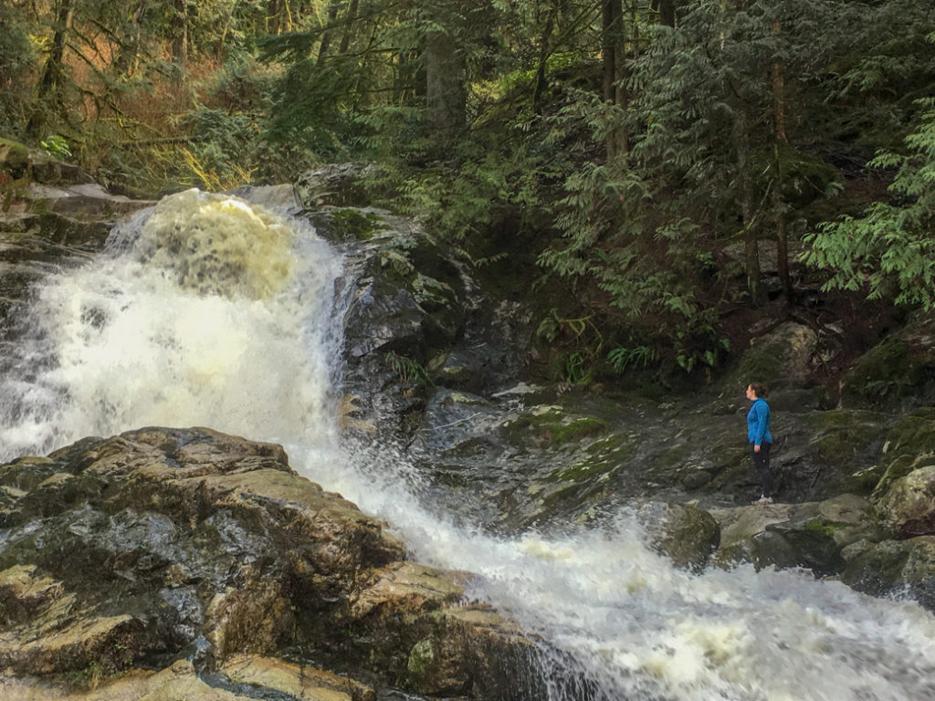 Crystal Falls in spring flood. You can get to this Vancouver hike on transit.
