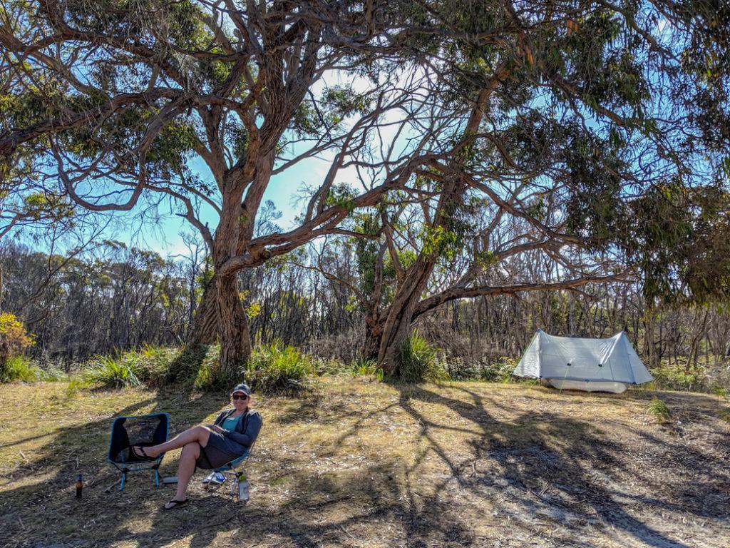Camping at Arthur River in the Tarkine region of Tasmania, Australia.