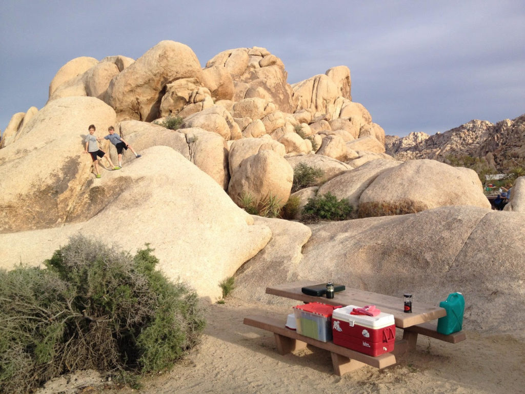 Camping at Indian Cove Campground in Joshua Tree National Park. Just one of our recommendations for the best places to stay near Joshua Tree.