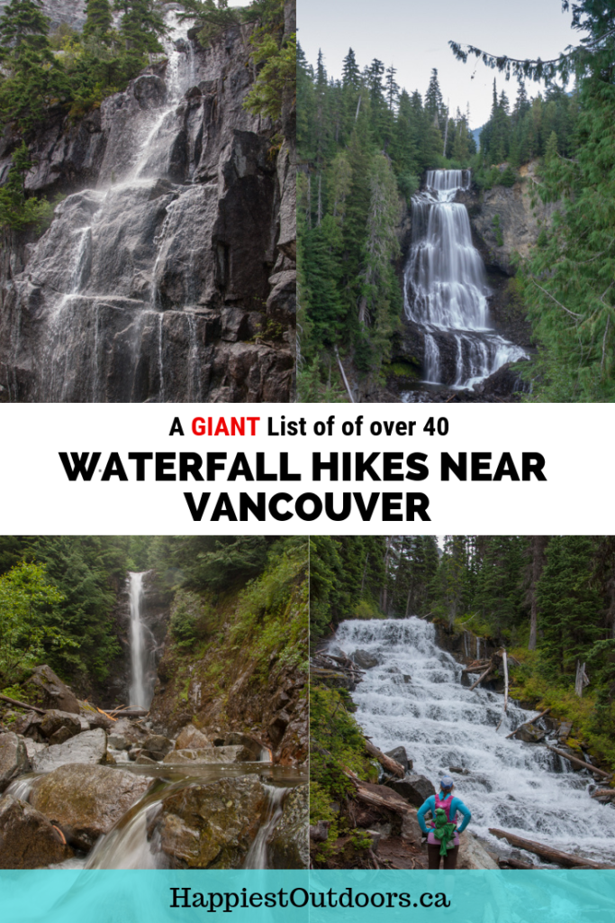 A giant list of over 40 waterfall hikes near Vancouver, BC, Canada. Includes all the waterfall hikes within a few hours of Vancouver, plus hiking directions and difficulty. #hiking #waterfall #Vancouver