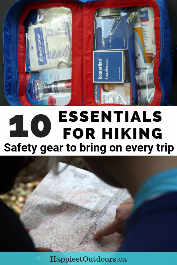 10 Essentials for Hiking: Safety gear to bring on every trip. Learn which gear you need to be prepared in case things go wrong. #hiking #hikinggear #emergencypreparedness
