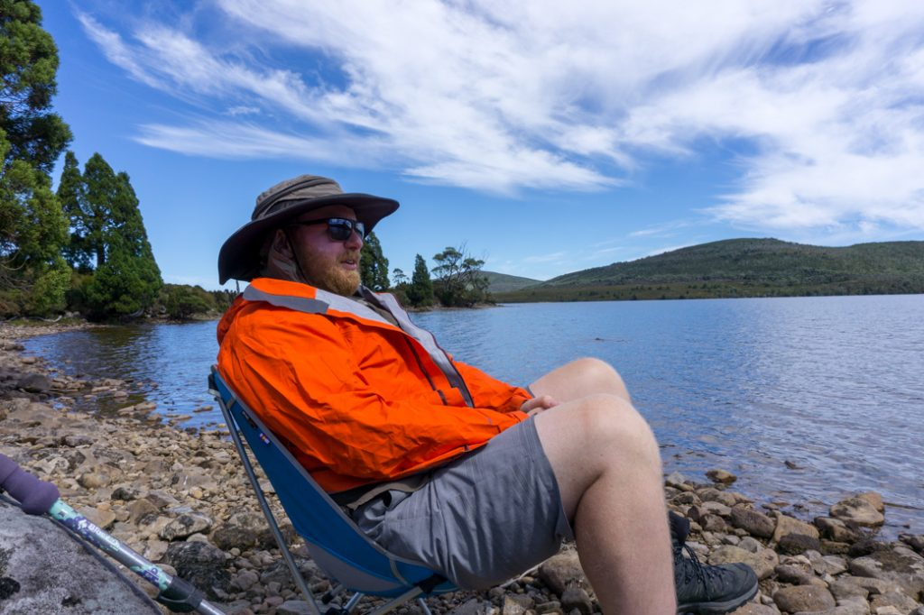 An ultralight chair was a comfortable luxury on the Overland Track