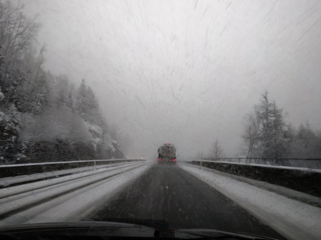 Snowy weather on the Sea to Sky highway