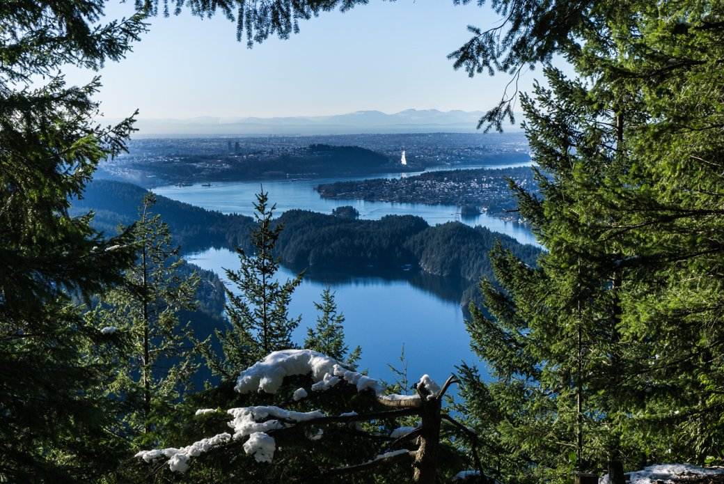 The view from the Diez Vistas hike near Buntzen Lake. You can get to this Vancouver hike on transit.