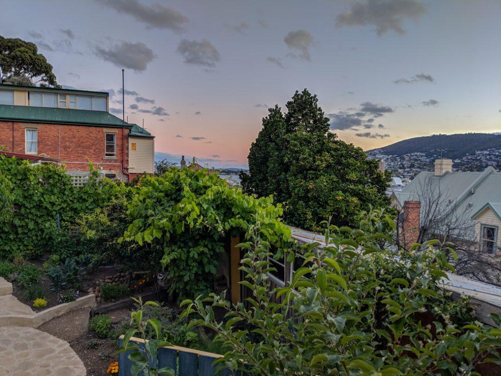 Garden view in Battery Point, Hobart, Tasmania