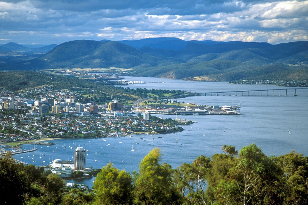Aerial view of Hobart. Find out how to spend a weekend in Hobart - a d-day Hobart itinerary
