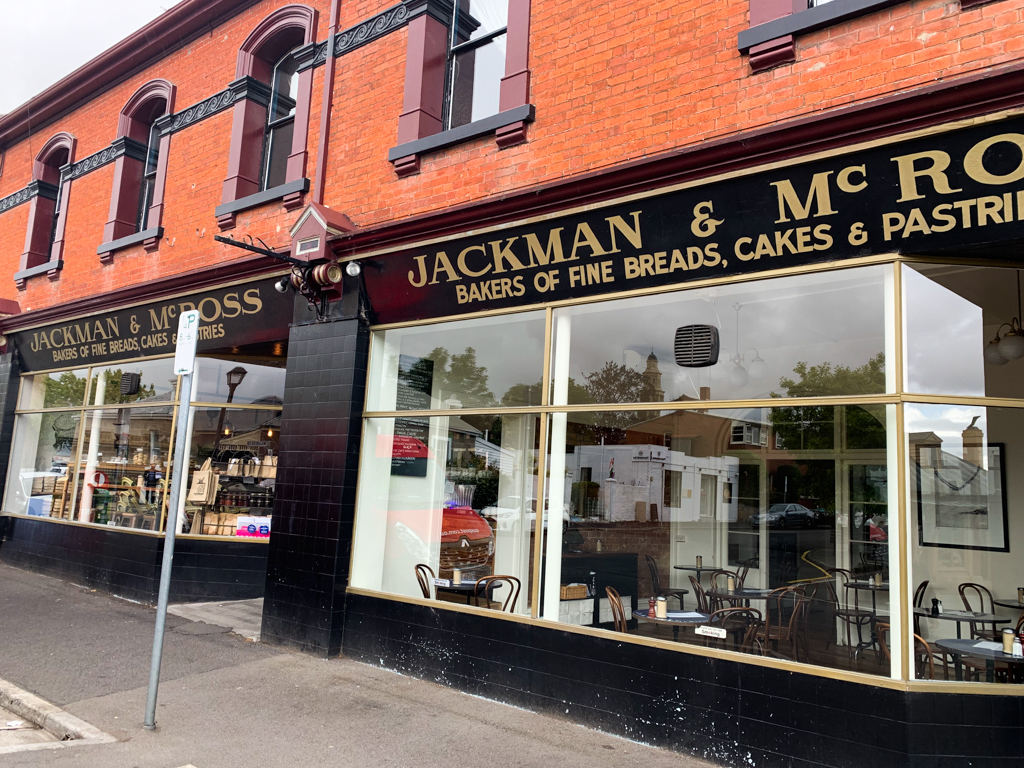 The brick exterior of Jackman and McRoss Bakery in Hobart, Tasmania