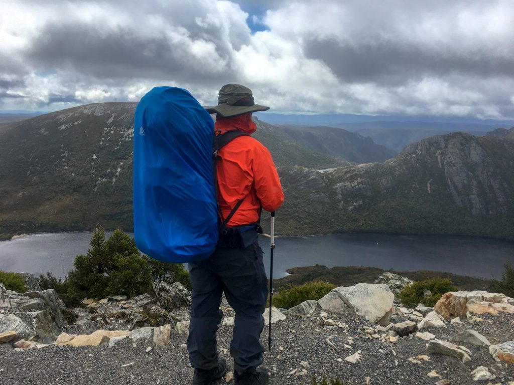 The hardest section of the Overland Track up to Marions Lookout on Day 1 from Ronny Creek to Waterfall Valley