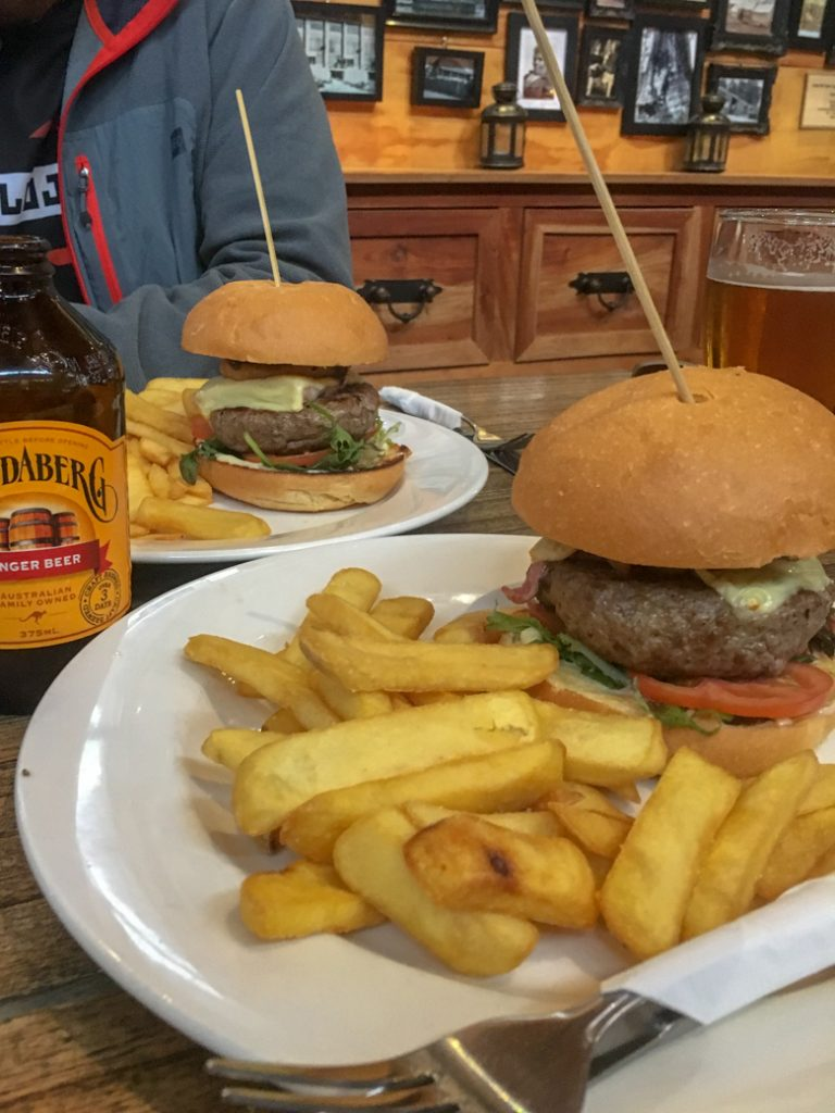 Overland Burger at the Hungry Wombat Cafe at the end of the Overland Track at Lake St Clair