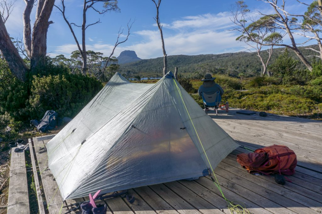 Camping at Windermere on the Overland Track.