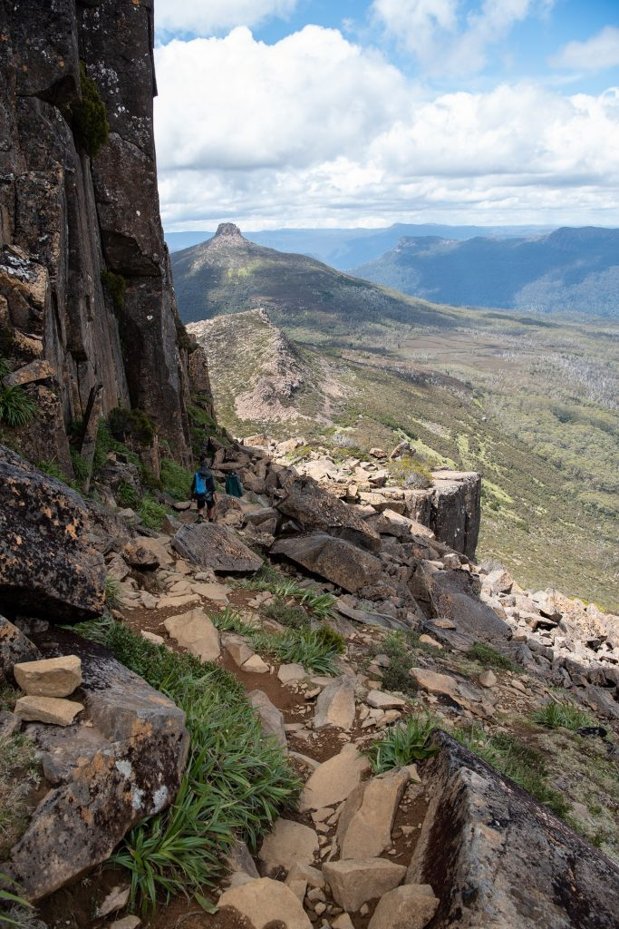 Descending from Mount Ossa. Most hikers plan to climb this peak as an Overland Track side trip.