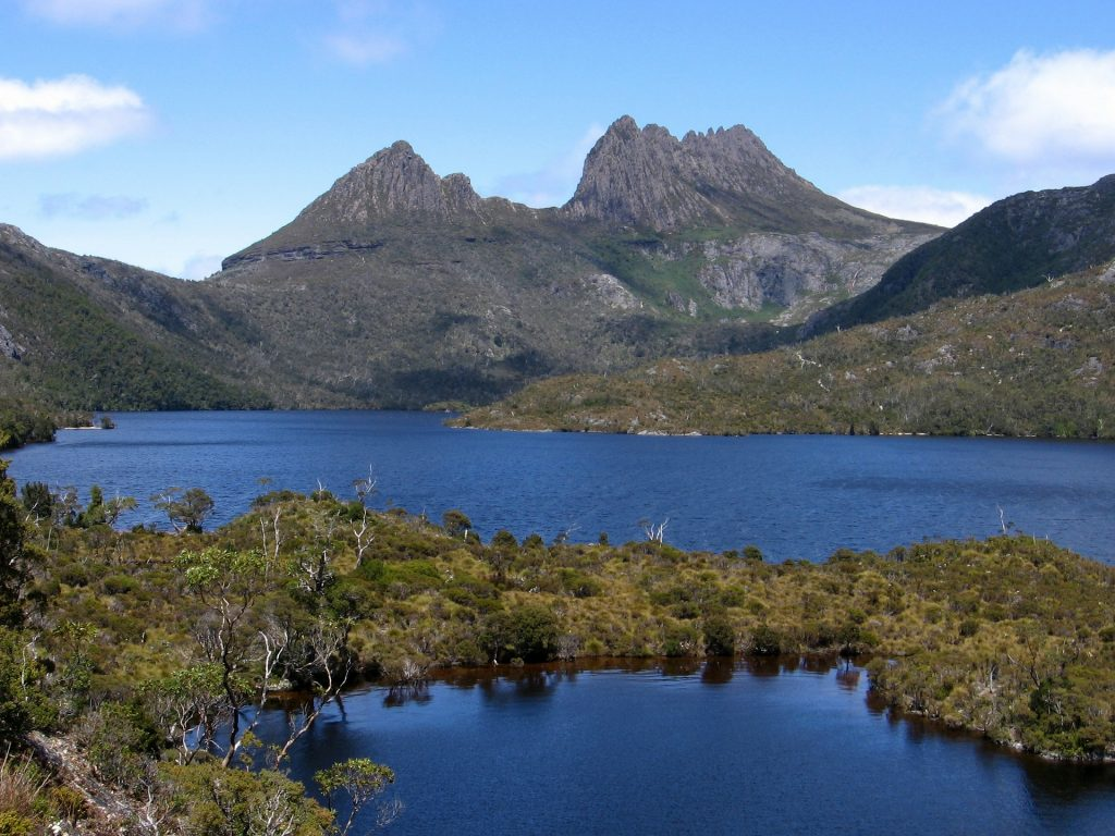 Cradle Mountain from Dove Lake. The hike to Cradle Mountain is a popular Overland Track side trip.