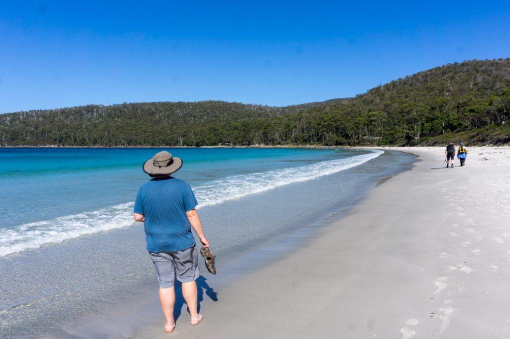 The beach at Fortescue Bay in Tasman National Park in Tasmania, Australia