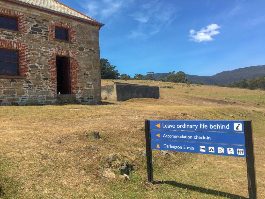 Accommodation check-in on Maria Island, Tasmania