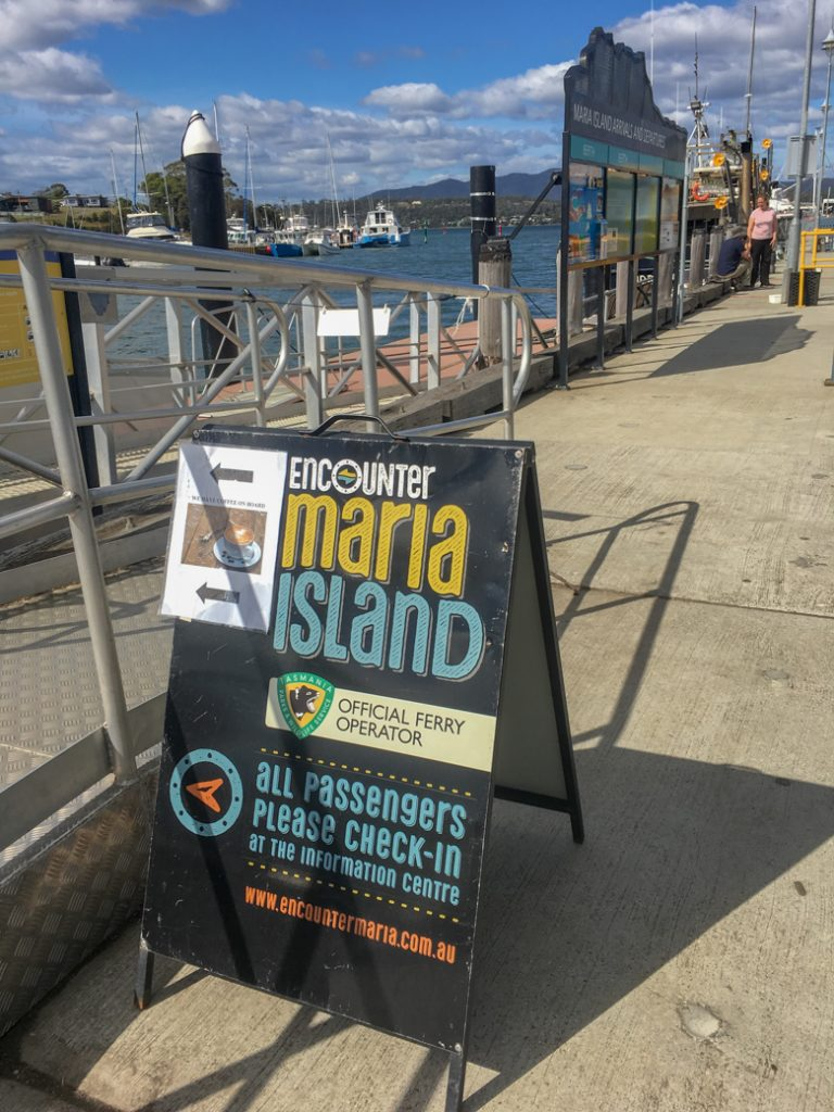 Maria Island Ferry check-in sign