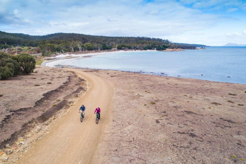 Mountain biking on Maria Island, Tasmania, Australia
