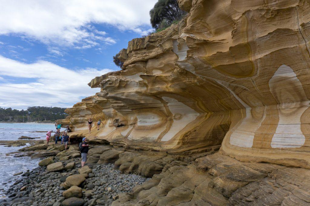 The Painted Cliffs on Maria Island, Tasmania, Australia.