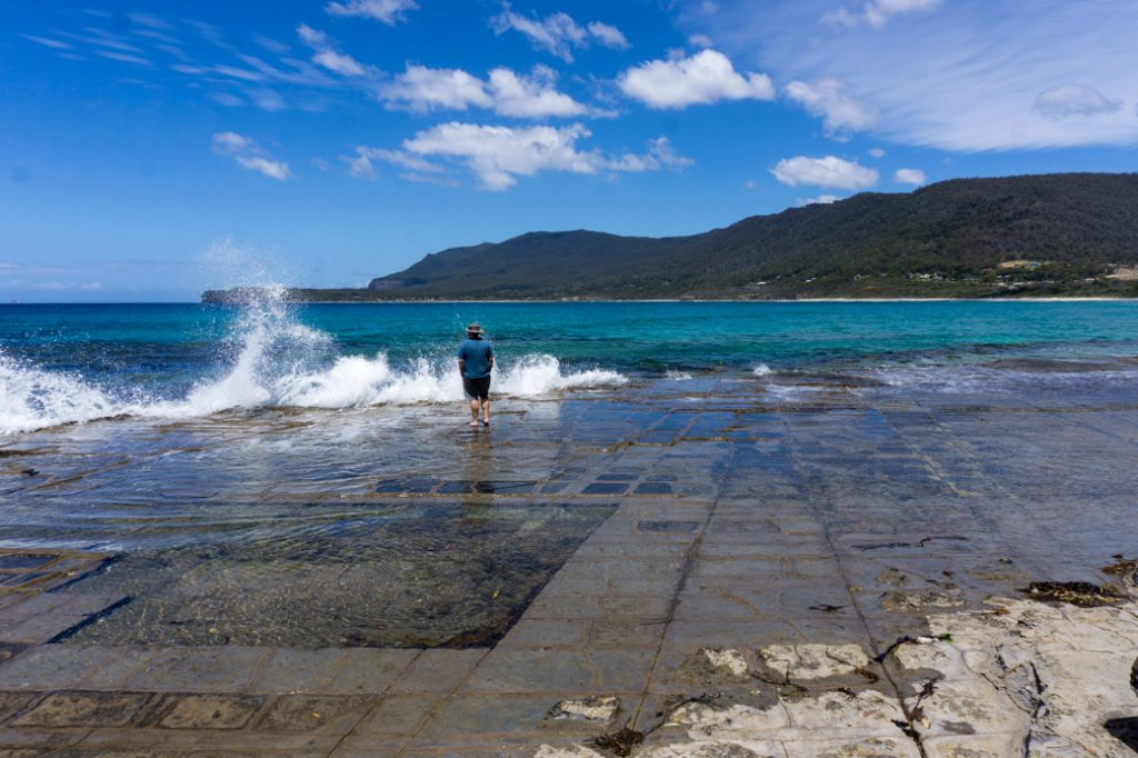 The Tessellated Pavement at Eaglehawk Neck on the Tasman Peninsula in Tasmania, Australia. One of the best attractions in Port Arthur.