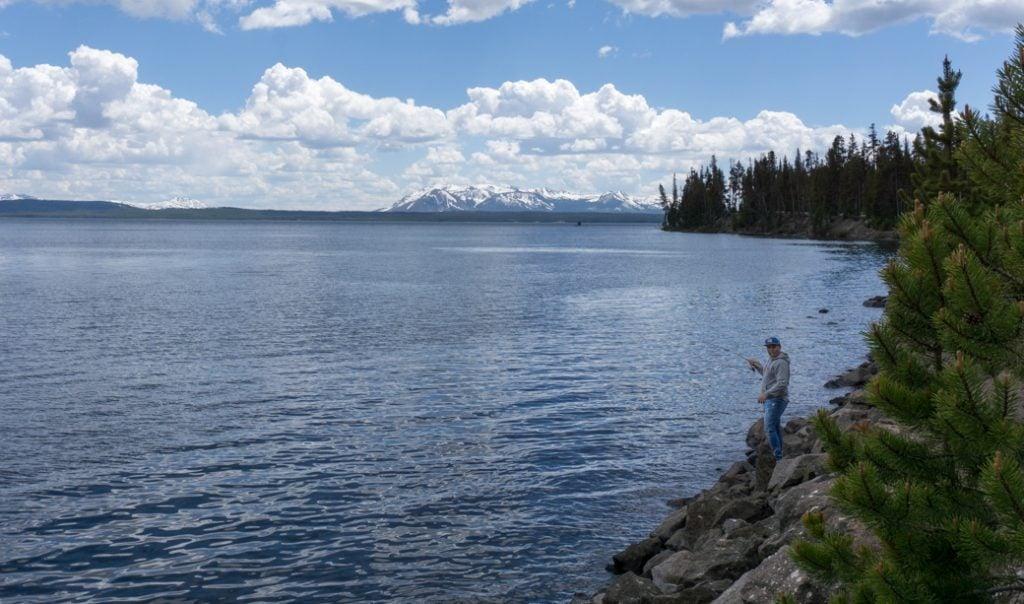 A man fishing on Yellowstone Lake
