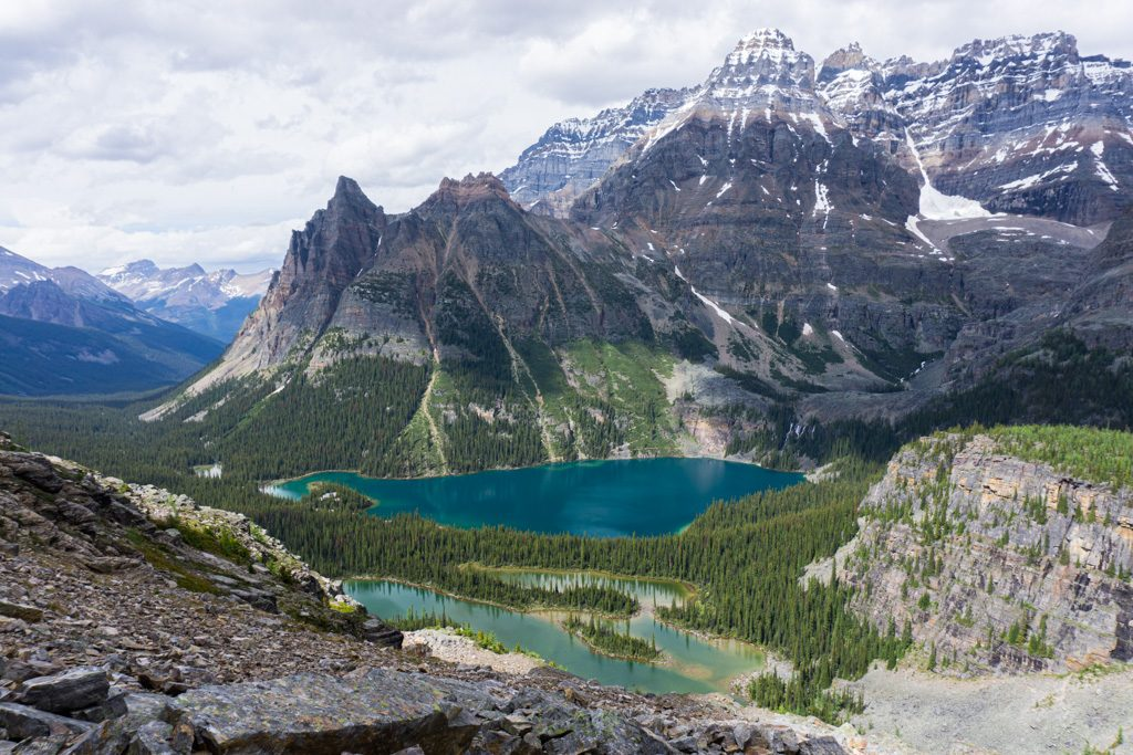 View of Lake O'Hara and Mary Lake from the All Soul's Alpine Route in Yoho National Park