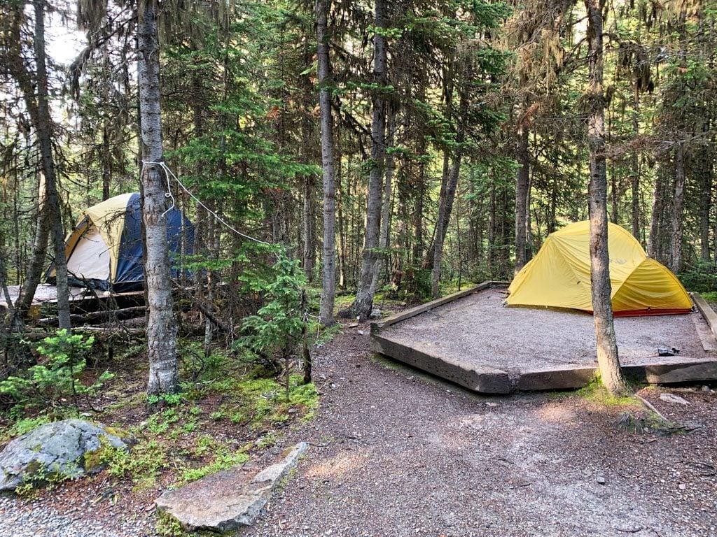 Tents at the Lake O'Hara campground in Yoho National Park