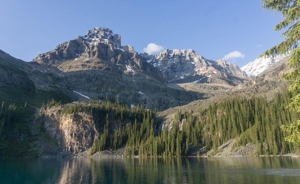 Mount Huber and Seven Veil Falls from the Lake O'Hara trail in Yoho National Park