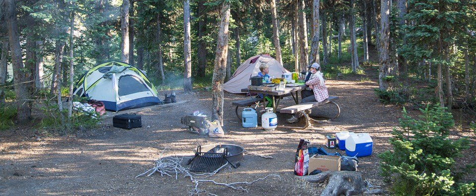 Camping at Lewis Lake Campground in Yellowstone National Park